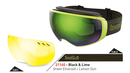 GOGLE BOLLE 15/16 VIRTUOSE Black / Lime Green Emerald + Lemon Gun
