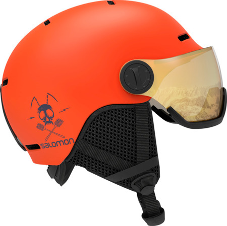 JUNIORSKI KASK SALOMON GROM VISOR Flame 2020